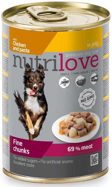 Nutrilove Premium Z pysznym kurczakiem i makaronem w pysznej galaretce 415g