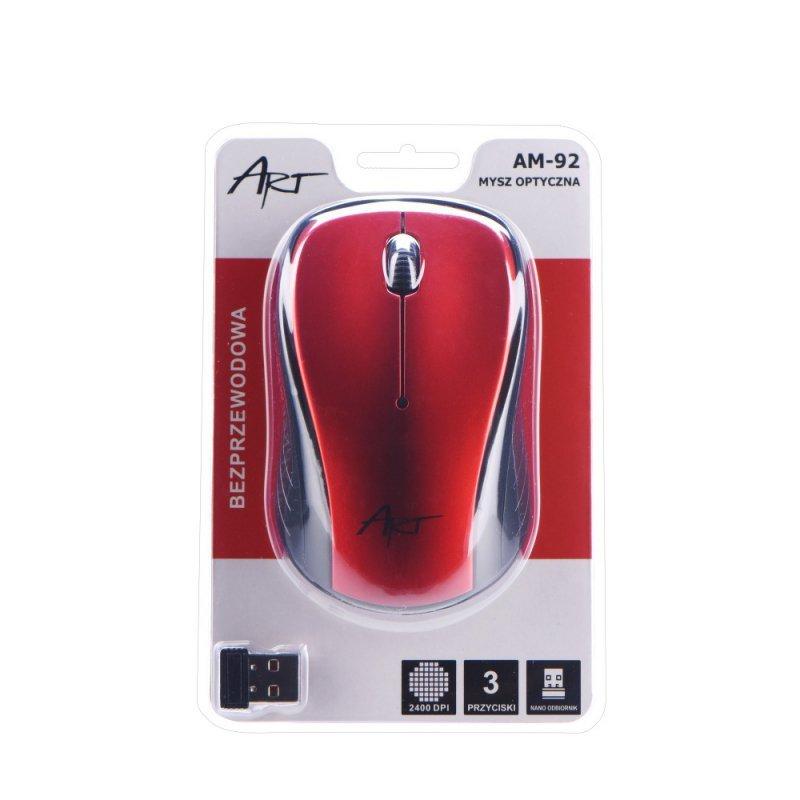 Mysz / Myszka  ART  bezprzewodowa-optyczna USB AM-92 czerwona