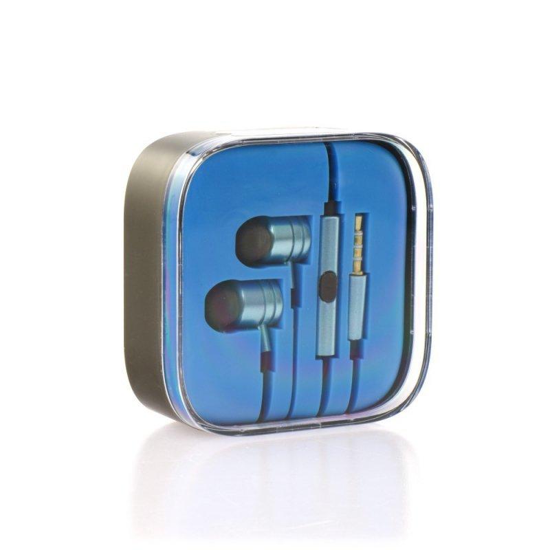 Zestaw HF / Słuchawki Stereo  box MI metal niebieski (Jack 3,5mm)