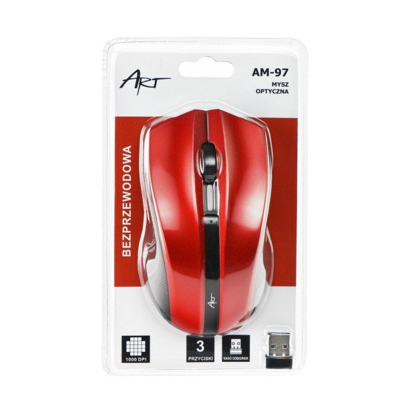 Mysz / Myszka  ART  bezprzewodowa-optyczna USB AM-97 czerwona