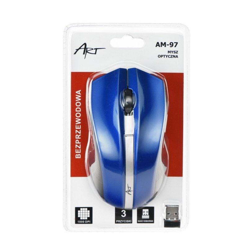 Mysz / Myszka  ART  bezprzewodowa-optyczna USB AM-97 niebieski