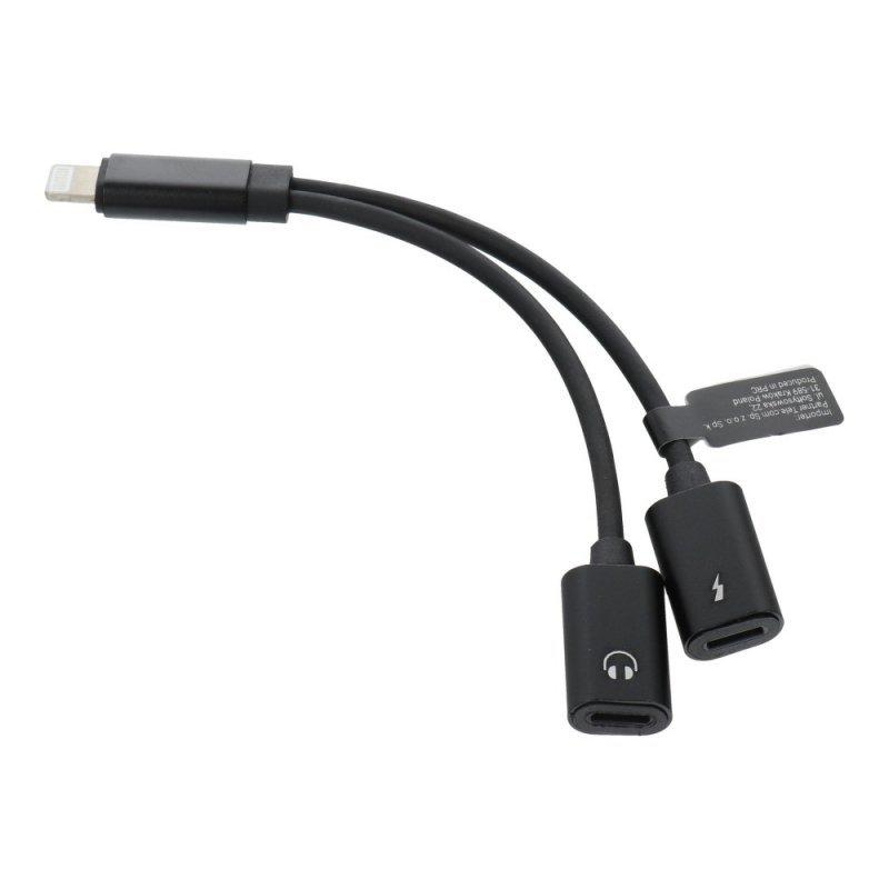 Adapter HF/audio + ładowanie do iPhone Lightning 8-pin - Lightning 8-pin czarny
