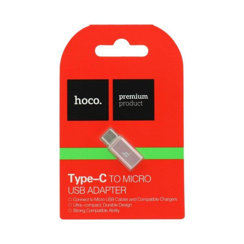 HOCO adapter Micro USB - Type C róż- złoty.