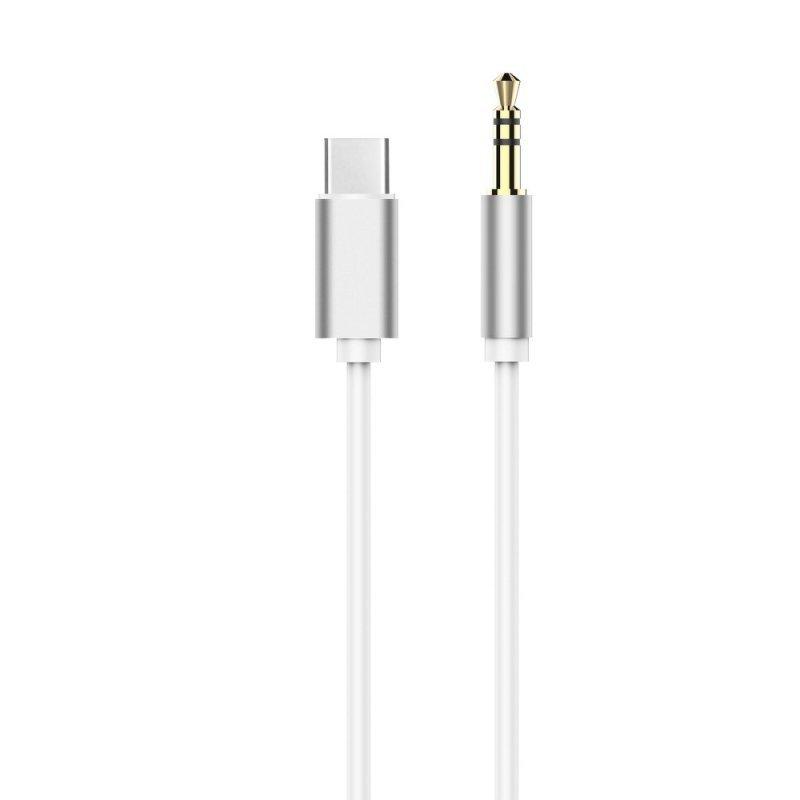 Adapter HF/audio Typ C - Jack 3,5mm biały kabel (męski)