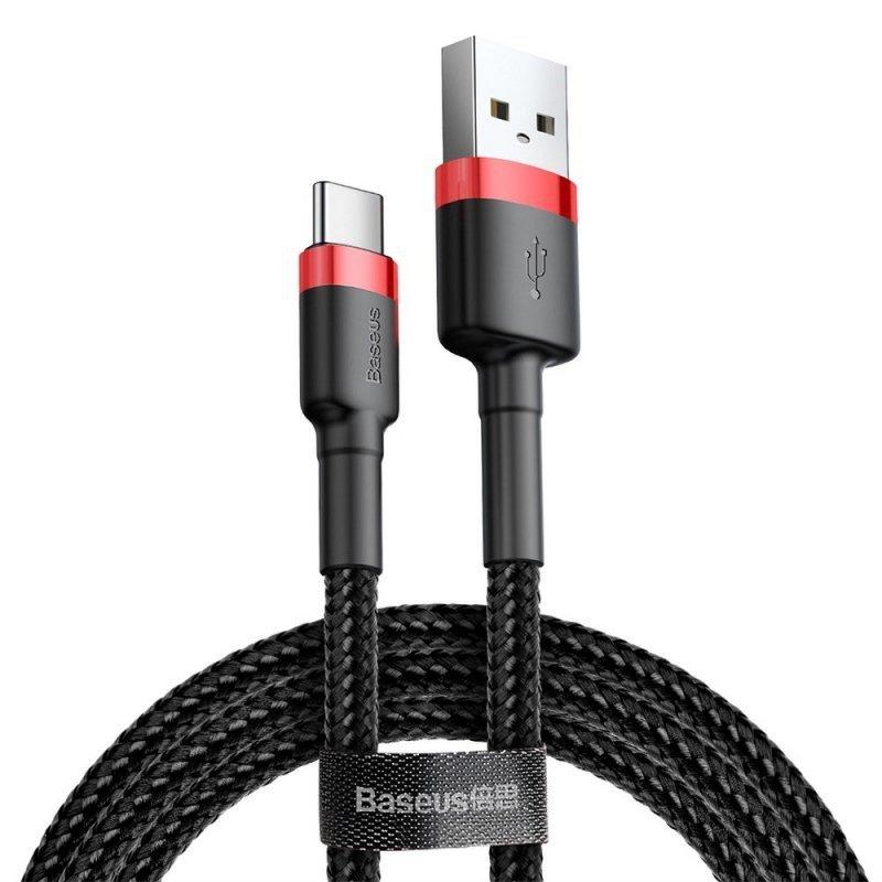 BASEUS kabel USB Cafule Typ C 2A 3 metry czerwono-czarny CATKLF-U91