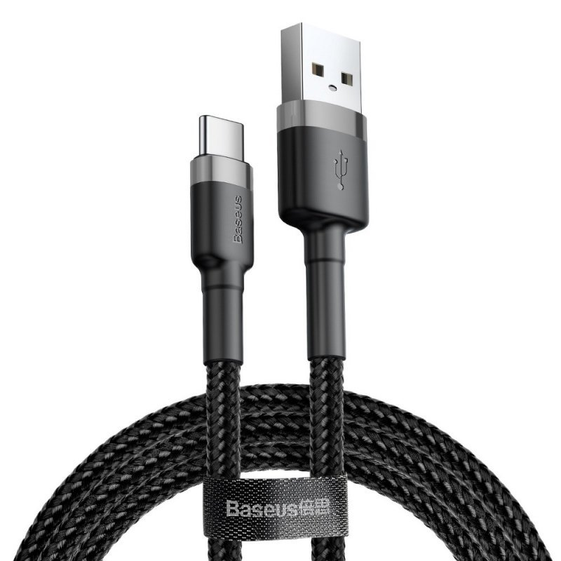BASEUS kabel USB Cafule Typ C 2A 3 metry szaro-czarny CATKLF-UG1