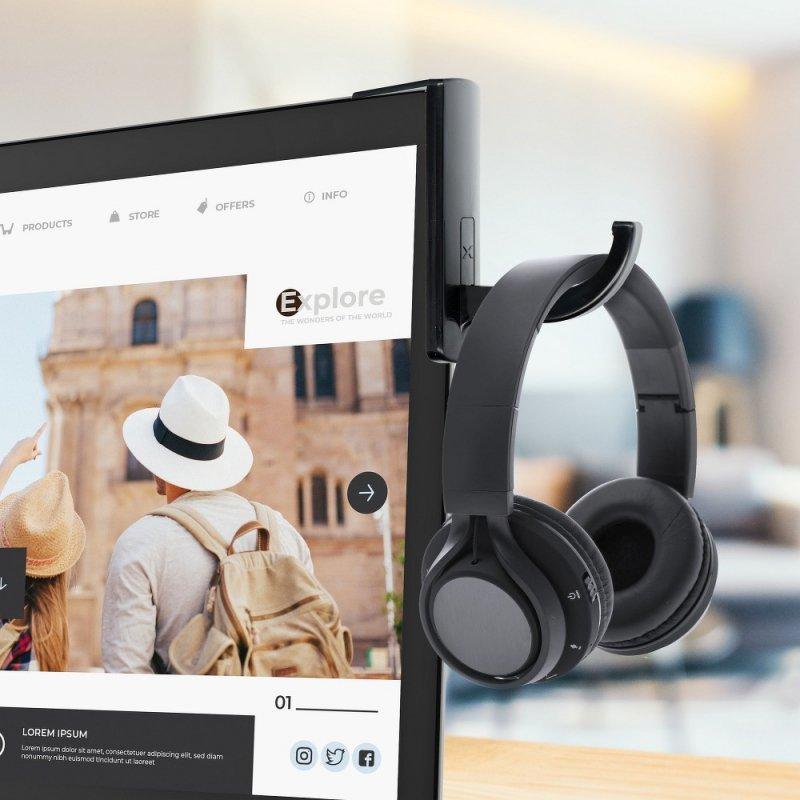 Uchwyt na słuchawki do monitora czarny
