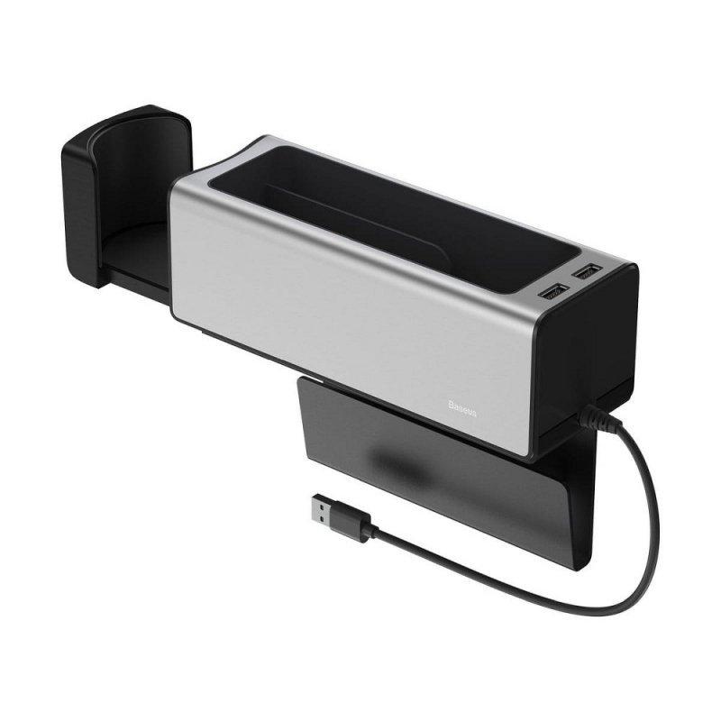 BASEUS organizer samochodowy + uchwyt na kubek + 2x USB 2A srebrny CRCWH-A0S