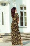 220-2 MAXI sukienka sportowa z rozcięciem - okrągłe LIŚCIE + KHAKI