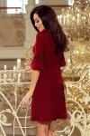 217-3 NEVA Trapezowa sukienka z rozkloszowanymi rękawkami - BORDOWA