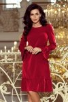 226-2 PARI Sukienka z falbankami - BORDOWA