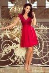 242-2 ANNA sukienka z dekoltem i koronką - BORDOWA