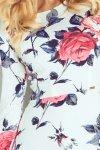 49-13 Rozkloszowana sukienka z rękawkiem 3/4 duże kwiaty