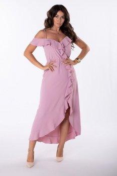asymetryczna sukienka maxi z falbankami