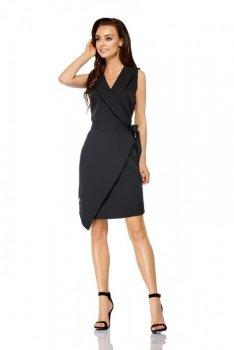 Sukienka kopertowa wiązana w pasie bez rękawów L308