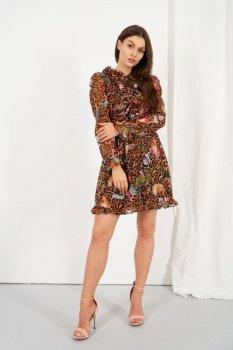 Szyfonowa sukienka z jedwabiem i żabotem wzór LG518