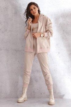 Klasyczny damski komplet z rozpinaną bluzą jasny beż NU345