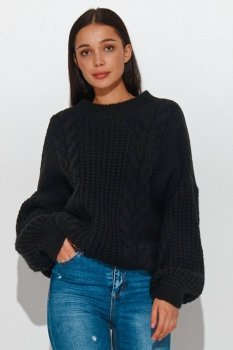 Sweter damski wkładany przez głowę czarny NU_S84