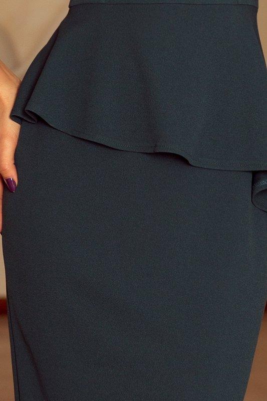 192-1 Elegancka sukienka MIDI z baskinką - BUTELKOWA ZIELEŃ