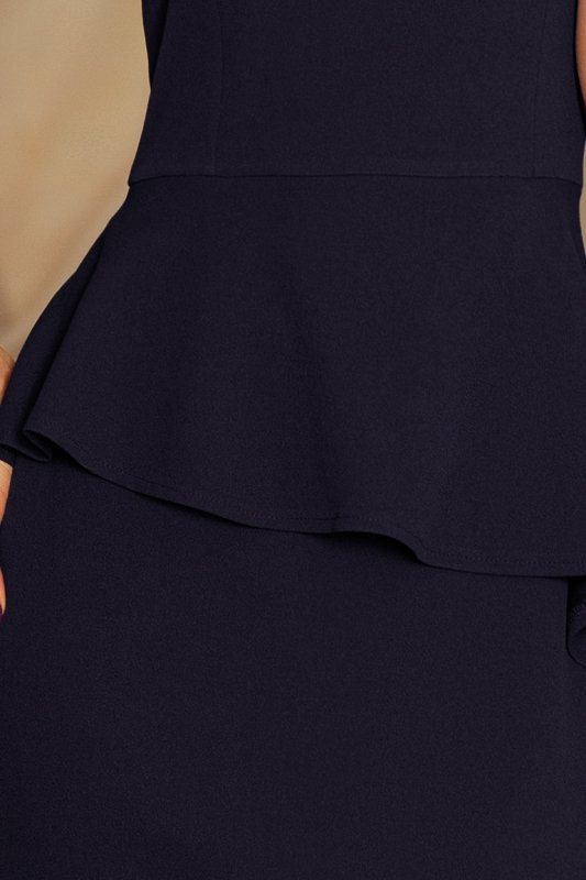 192-4 Elegancka sukienka MIDI z baskinką - GRANATOWA