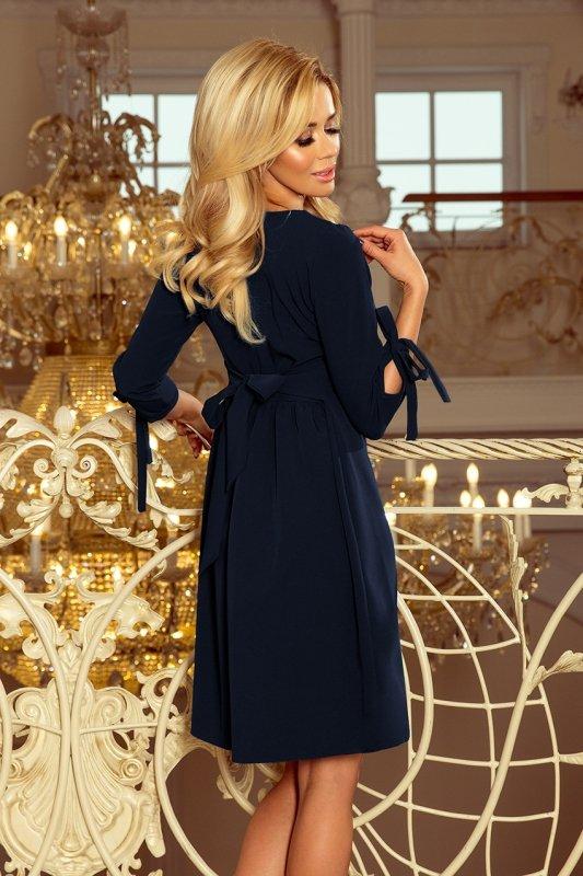 195-5 ALICE Sukienka z kokardkami - GRANATOWA