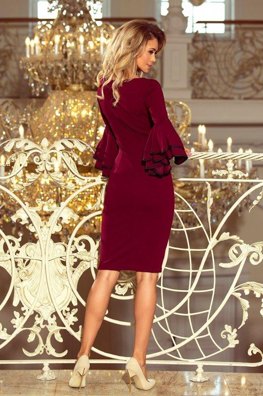 188-3 CARMEN sukienka z hiszpańskimi rękawkami - BORDOWA