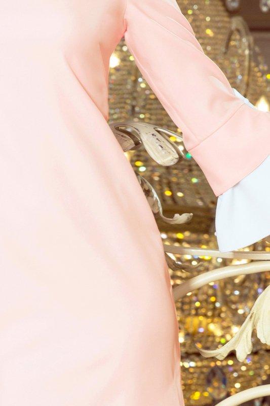 232-2 GRACE sukienka z białymi rękawkami - PASTELOWY RÓŻ