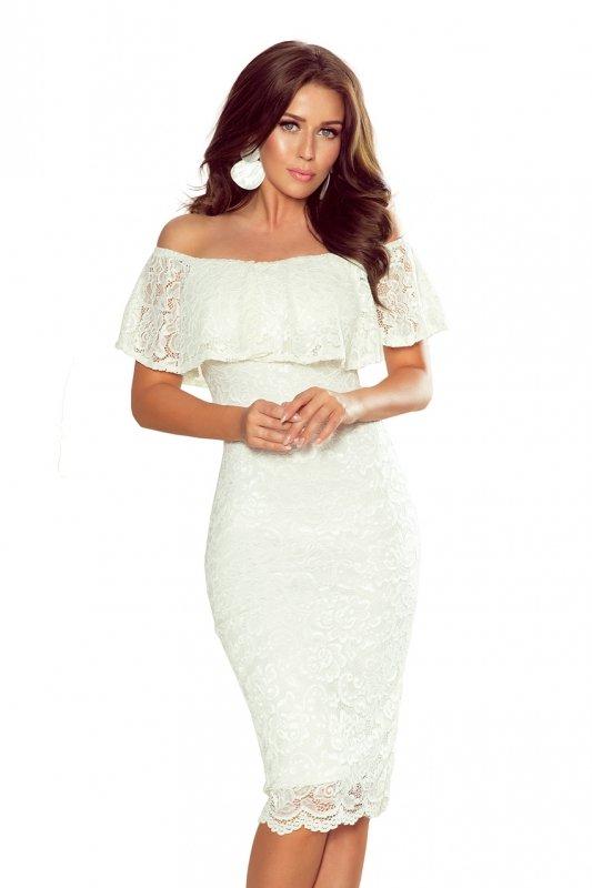 268-1 Koronkowa sukienka hiszpanka - ECRU