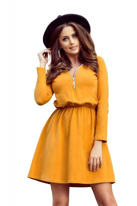 283-1 NANCY Sukienka z zamkiem - kolor musztardowy