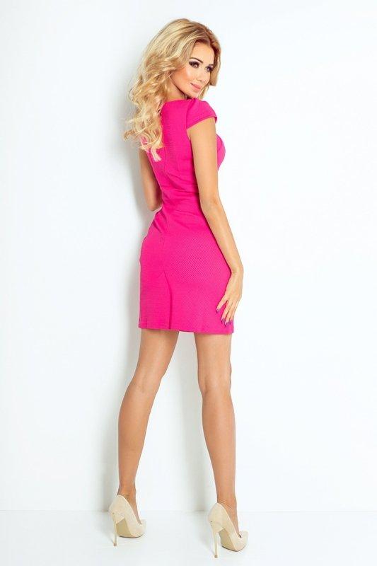 118-3 Sukienka z ładnym dekoltem - MALINOWY
