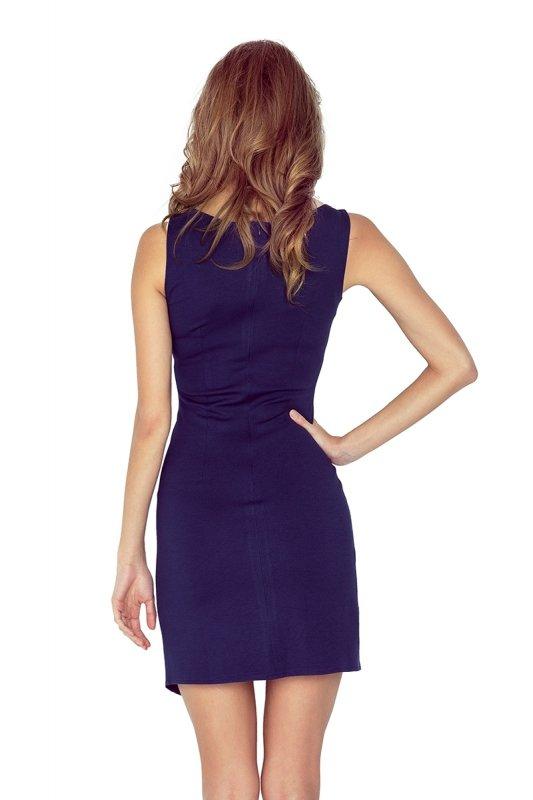 MM 004-2 Sukienka asymetryczna z lamówką - GRANATOWA
