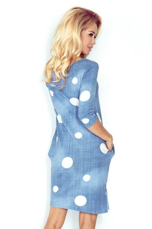 40-11 Jola sukienka z kieszeniami - JEANS - BIAŁE KÓŁKA