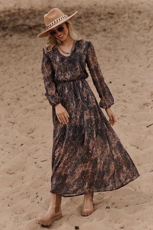 Długa lekka sukienka z printem szyfon 30 M674