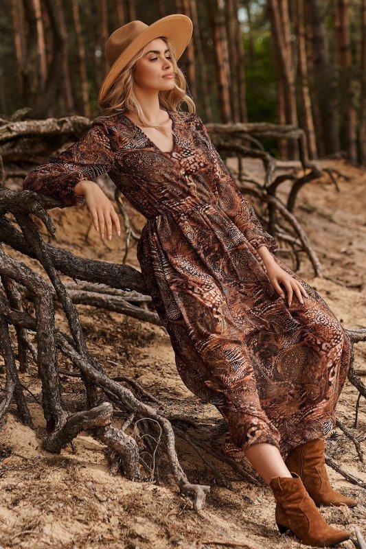 Długa lekka sukienka z printem szyfon 31 M674
