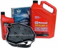 Filtr oleju oraz syntetyczny olej Motorcraft MERCON V automatycznej skrzyni biegów Lincoln Continental 4,6 V8 2003