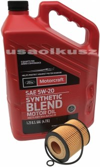 Wkład filtra oraz olej silnika Motorcraft 5W20 Mazda Tribute 2,5 16V -2010