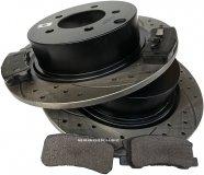 Tylne klocki + WIERCONE tarcze hamulcowe 302mm BLACK Chrysler Sebring 2007-