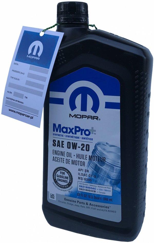 Syntetyczny olej silnikowy 0W20 MOPAR GF-5 MS-6395