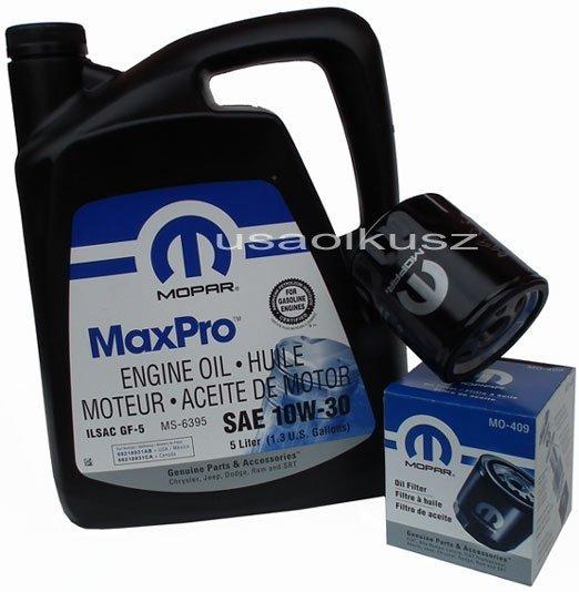Oryginalny filtr oleju oraz olej MOPAR 10W30 Dodge Stratus 2,0 / 2,4