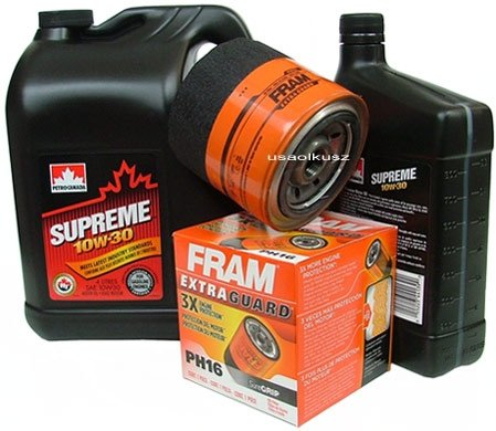 Filtr oleju FRAM PH16 oraz olej SUPREME 10W30 Chrysler Voyager Town&Country