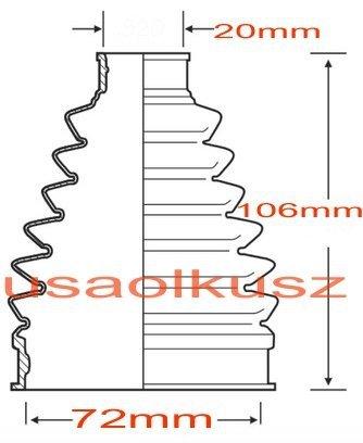 Osłona przegubu napędowego 20x72x106