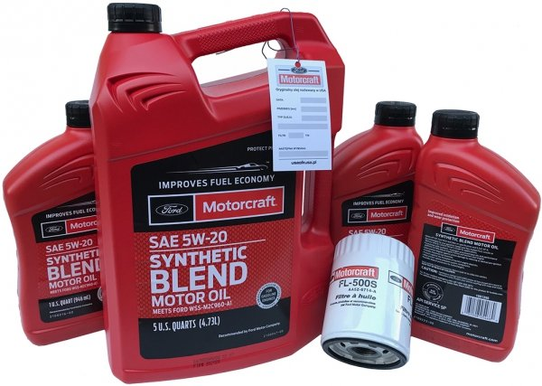 Filtr + olej silnikowy Motorcraft 5W20 SYNTHETIC BLEND Ford F-150 5,0 V8 2011-