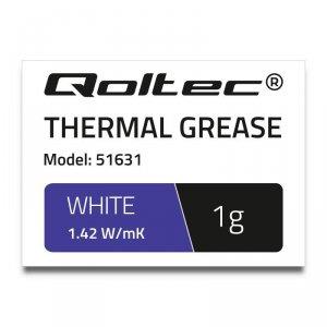 Pasta termoprzewodząca Qoltec 1.42 W/m-K | 1g | Biała
