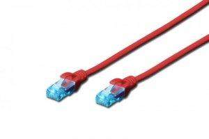 Patchcord DIGITUS UTP kat. 5e 0,5m PVC czerwony