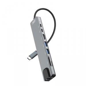 XO adapter HUB HUB003 8w1 srebrny