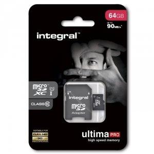 Integral karta pamięci microSDXC Ultima PRO (64GB | class 10 | UHS-I | 90 MB/s) + adapter