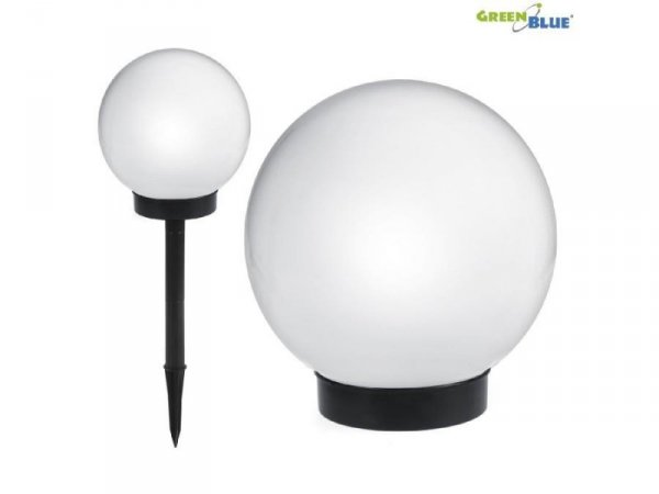 Lampa solarna GreenBlue GB123 wolnostojaca ogrodowa - kula 20x20x53cm, bialy LED