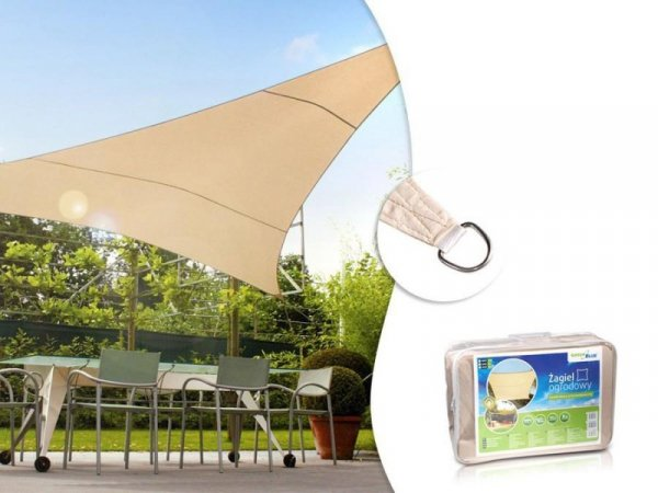 Żagiel ogrodowy GreenBlue GB501 zacieniacz UV poliester 4m trójkąt kremowy hydrofobowa powierzchnia