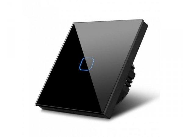 Włącznik dotykowy światła Maclean MCE701B pojedyńczy, szklany, czarny z kwadratowym przyciskiem, wymiary 86x86mm, z podświetleni