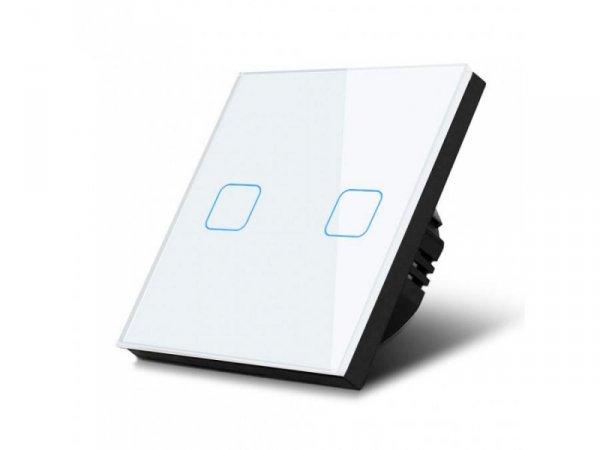 Włącznik dotykowy światła Maclean MCE703W podwójny, szklany, biały z kwadratowym przyciskiem wymiary 86x86mm, z podświetleniem p